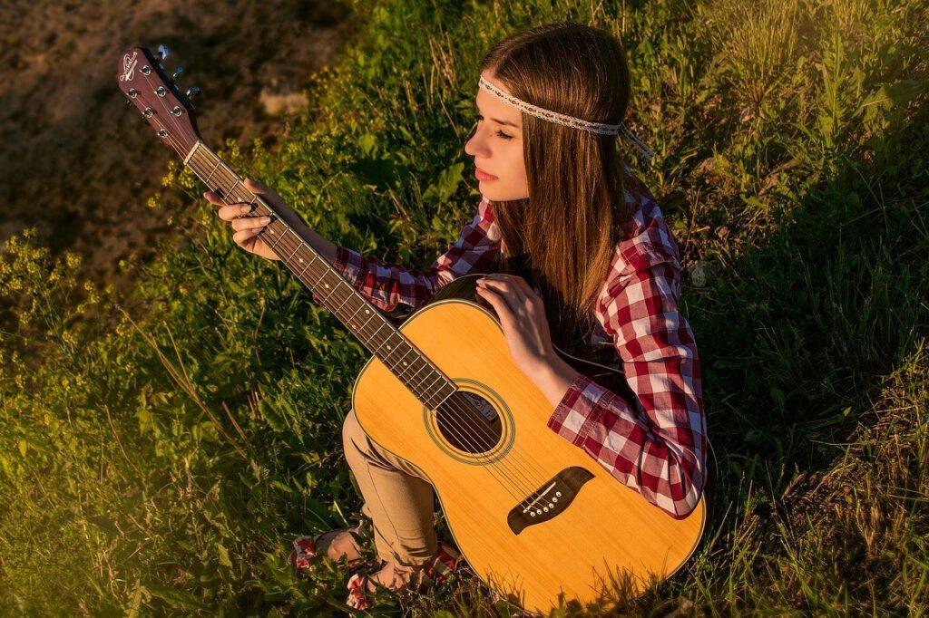 girl, guitar, summer