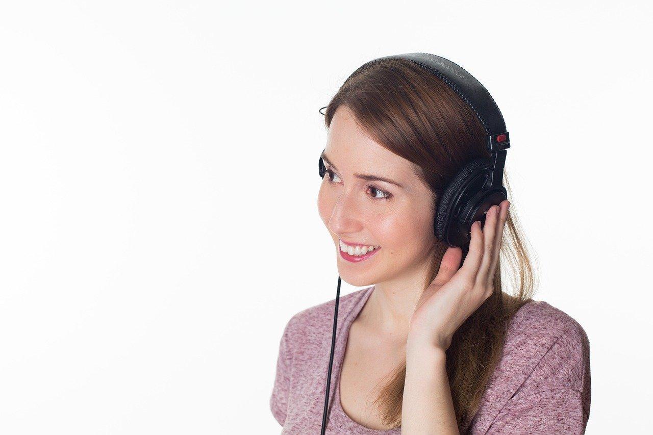 woman, girl, headphones